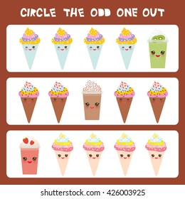 Visual logic puzzle Circle the odd one out. Kawaii colorful coffee kiwi strawberry smoothies, ice cream cone with pink cheeks and winking eyes, pastel colors on brown background. Vector