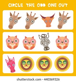 Visual logic puzzle Circle the odd one out. Kawaii animals cow zebra lion unicorn giraffe owl, pastel colors on blue background. Vector
