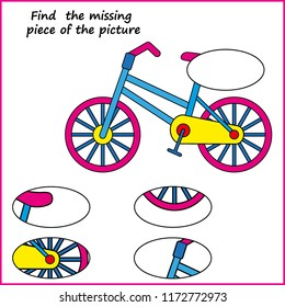 Visual logic puzzle: Find missing piece - Puzzle game for kids. Worksheet for Children.