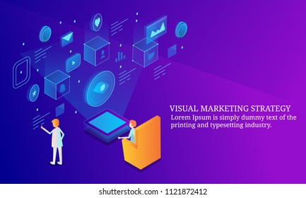 Visual marketing, visual strategy and information - 3D style isometric design banner with icons and texts