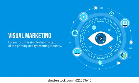 Visual marketing, marketing through visual contents flat vector concept with icons