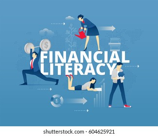 Visual metaphor of modern financial education. Young men and women faceless characters in different movements around words FINANCIAL LITERACY. Vector illustration isolated on blue background