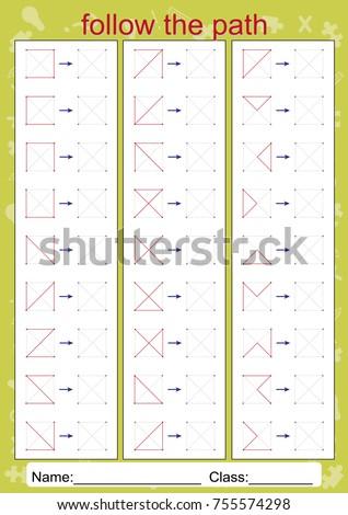 Visual Perceptual Worksheets Visual Motor Perception Stock Vector