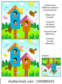 Visual puzzle with birdhouses, birds and nestlings: Find the seven differences between the two pictures. Same task text in Russian, German, Spanish, French. Answer included.