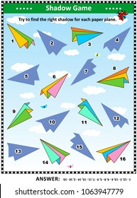 Visual puzzle with colorful paper planes: Try to find the right shadow for each plane. Answer included.