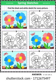 Visual puzzle: Find the black and white sketch for every colorful picture of flowers, moth, soil. Answer included.