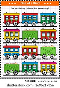 Visual puzzle with retro railroad cars: Can you find toy train car that has no copy? Answer included.