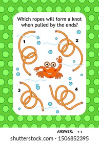 Visual puzzle with strings or ropes: Which ropes will form a knot when pulled by the ends? Answer included.