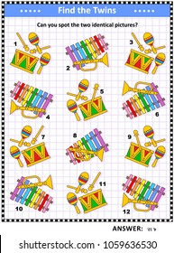 Visual puzzle with toy musical instruments: Can you spot the two identical pictures? Answer included.