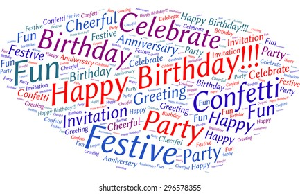 """A visual representation of the theme """"Happy Birthday!"""" in a word tag cloud"""