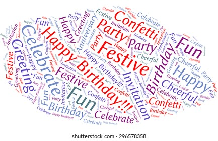 "A visual representation of the theme ""Happy Birthday!"" in a word tag cloud"