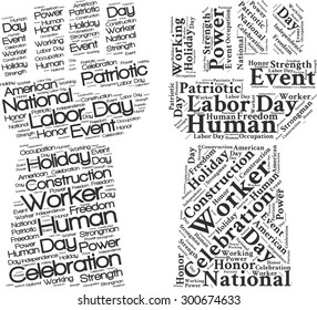 """A visual representation of the theme """"Labor day"""" in a word tag cloud in a form of an abstract hand"""