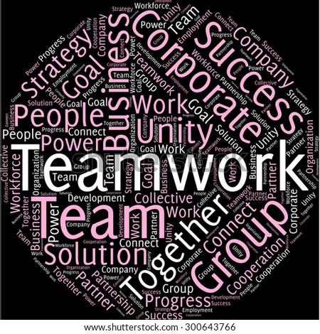 visual representation theme teamwork word tag stock vector royalty