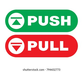 Visual representing the Push and Pull signs on doors. Vector illustration.