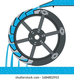 Visual vector illustration shows the scheme of the water wheel