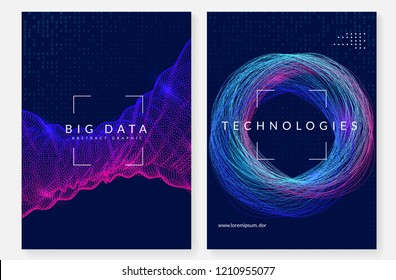 Visualization background. Technology for big data, artificial intelligence, deep learning and quantum computing. Design template for server concept. Geometric visualization backdrop.