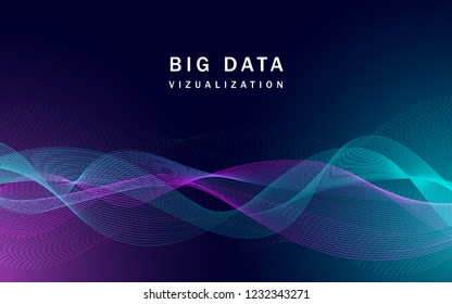 Visualization big data technological banner. Realistic illustration of visualization big data vector technological banner for web design