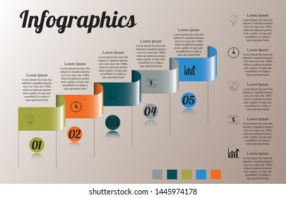 Visualization of business data, infographics. Scheme of the process of elements using graphs, diagrams on five stages, numbers, icons, additional text on the right, options, parts.