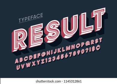 Vitage 3d display font design, alphabet, letters and numbers. Swatch color control