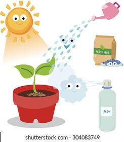 Vital needs of a plant. Plants need sunlight, fertilizer, air, and water.