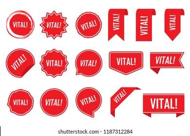 Vital tag set in red. Vector illustration.