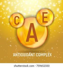 Vitamin A, C, E  Icon. Antioxidant Complex. Vector Illustration EPS10