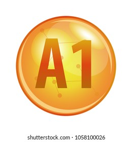 Vitamin A1 capsule. Vector icon for health. Gold shining pill.