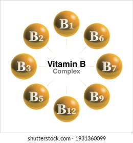 Vitamin B complex drops isolated on white background