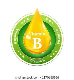 Vitamin B on yellow drop. Button, sign and badge.
