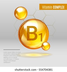 Vitamin B1 gold shining pill capcule icon . Vitamin complex with Chemical formula, group B, Thiamine. Shining golden substance drop. Meds for heath ads. Vector illustration