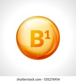 Vitamin B1 isolated on white. Medicine health symbol of thiamin. Natural chemical b1 vitamin