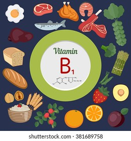 Vitamin B1 or Thiamin and vector set of vitamin B1 rich foods. Healthy lifestyle and diet concept.