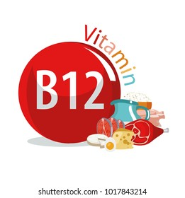 Vitamin B12. Food sources. Natural organic products with the maximum content of vitamin B12.