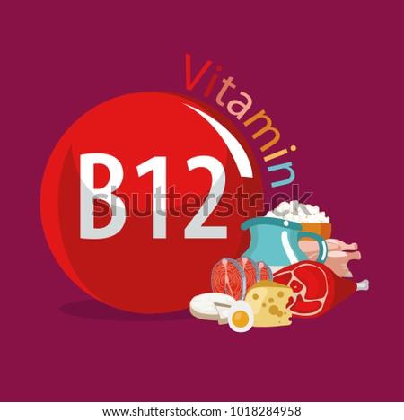 Vitamin B 12 Food Sources Natural Organic Stock Vector Royalty Free