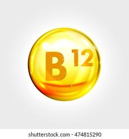 Vitamin B12  gold icon. Cobalamin vitamin drop pill capsule. Shining golden essence droplet. Beauty treatment nutrition skin care design. Vector illustration.