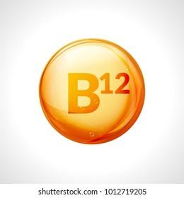 Vitamin B12 gold pill icon. Vitamin complex with B group, cyanocobalamin, hydroxocobalamin medicine.