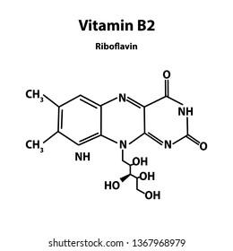 Vitamin B2. riboflavin Molecular chemical formula. Infographics. Vector illustration on isolated background.
