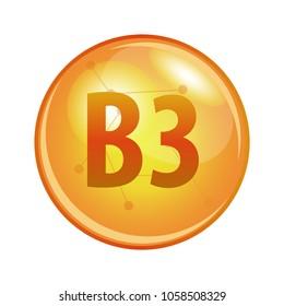 Vitamin B3 capsule. Vector icon for health. Gold shining pill.