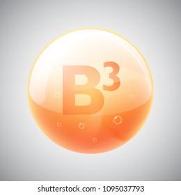 Vitamin B3 drop orange icon with shine, glow and glare.