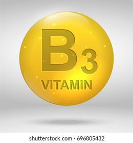 Vitamin B3. Niacin vitamin drop pill capsule icon