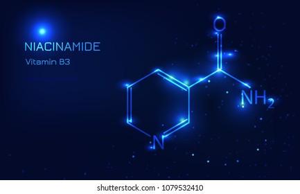 Vitamin B3 Niacinamide molecula concept. Blue lines style vector illustration. Space effect.