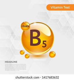 Vitamin B5 gold shining pill capcule icon, cholecalciferol. golden Vitamin complex with Chemical formula substance drop. Medical for heath Vector illustration