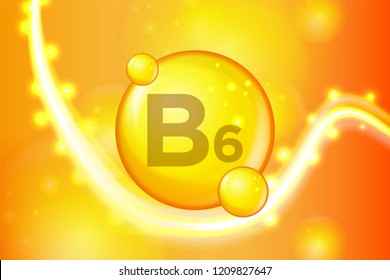Vitamin B6 gold shining pill capsule icon . Vitamin complex with Chemical formula. shine gold sparkles. medical and pharmaceutical ads. Vector illustration
