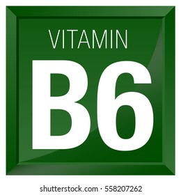 VITAMIN B6 Icon - Chemistry -  square frame with Green background