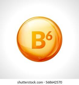 Vitamin b6 pill icon. Pyridoxine nutrition care. Gold drop essence. Isolated golden vector symbol of b6 vitamin medicine