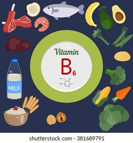 Vitamin B6 or Pyridoxine and vector set of vitamin B6 rich foods. Healthy lifestyle and diet concept.