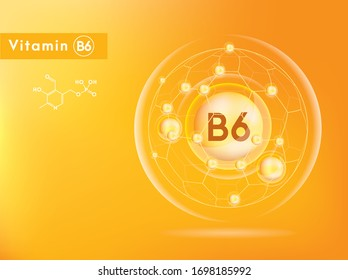 Vitamin B6 and structure. Medicine capsule, Golden substance. 3D Vitamin complex with chemical formula. Personal care and beauty concept. Vector Illustration