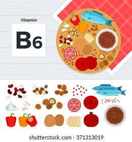 Vitamin B6 vector flat illustrations. Foods containing vitamin B6 on the table. Source of vitamin B6: nuts, fish, paprika, potato, garlic, pomegranate isolated on white background