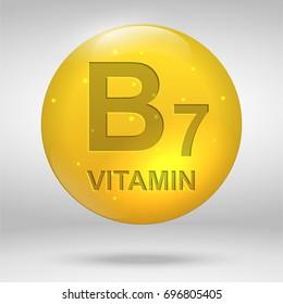 Vitamin B7. Biotin vitamin drop pill capsule icon