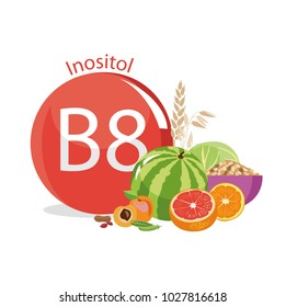 Vitamin B8 (inositol). Natural organic products (vegetables and fruits) with the highest content of vitamin B8. white